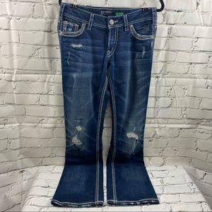 "Silver Suki distressed boot cut 37"" length"